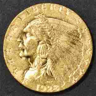 1928 $2.50 GOLD INDIAN, CH/ GEM BU