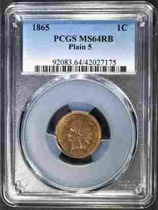1865 INDIAN HEAD CENT PCGS MS-64 RB PLAIN 5