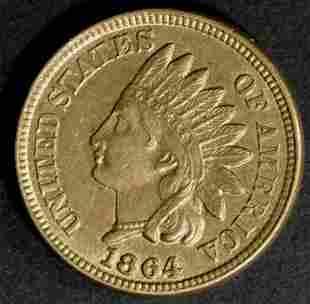 1864 CN INDIAN HEAD CENT CH BU+