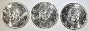 3-1964 CANADIAN SILVER DOLLARS