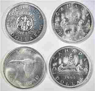 (4) CANADA SILVER DOLLARS GEM BU+