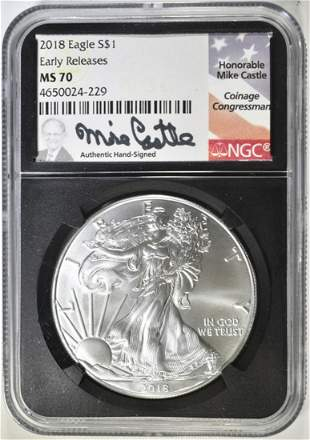 2018 SILVER EAGLE NGC MS-70 EARLY RELEASES