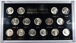 1941-1945-S BU MERCURY DIMES SET