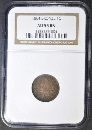 1864 BRONZE INDIAN HEAD CENT NGC AU-55 BN