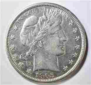 1905 BARBER HALF DOLLAR CH AU