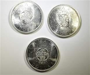 3-1964 CANADA SILVER DOLLARS, BU