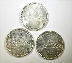 3-1965 CANADA SILVER DOLLARS, BU