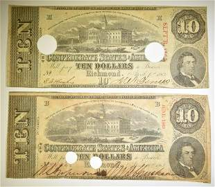 (2) $10 CONFEDERATE NOTES T-59 CANCELLED, SCARCE