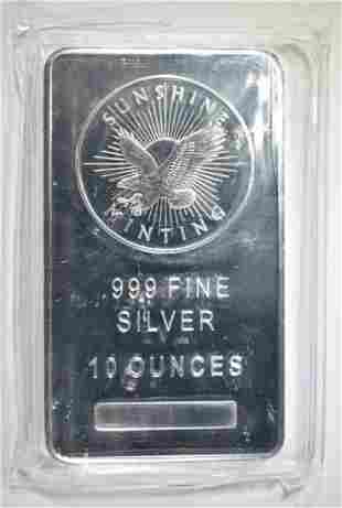 10 OZ .999 SILVER BAR SUNSHINE MINT