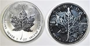2008 & 2009 $5 1 OZ SILVER MAPLE LEAFS