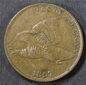 1857 FLYING EAGLE CENT  GEM UNC BROWN
