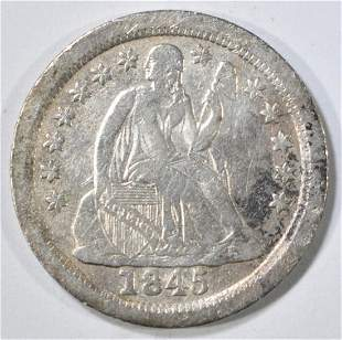 1845-O SEATED LIBERTY DIME VG MARKS OBV.