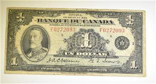 1935 $1 CANADA NOTE PRINTED IN FRENCH