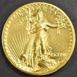 1907 $20 GOLD ST GAUDENS HI RELIEF  NICE BU