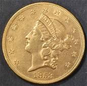 1853 $20 GOLD LIBERTY  CH BU