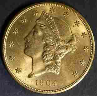 1904 GOLD $20 LIBERTY GEM BU