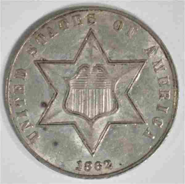 1862 3 CENT SILVER AU/BU