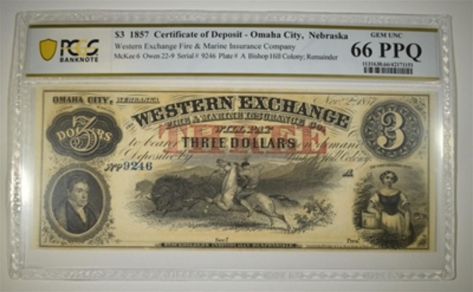 1857 $3 CERT OF DEPOSIT OMAHA CITY PCGS 66 PPQ