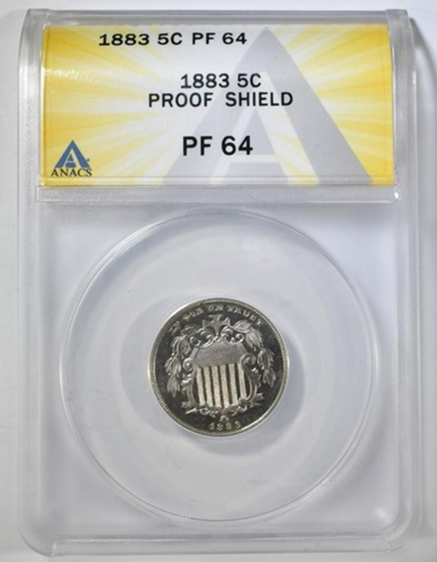 1883 SHIELD NICKEL ANACS PF-64