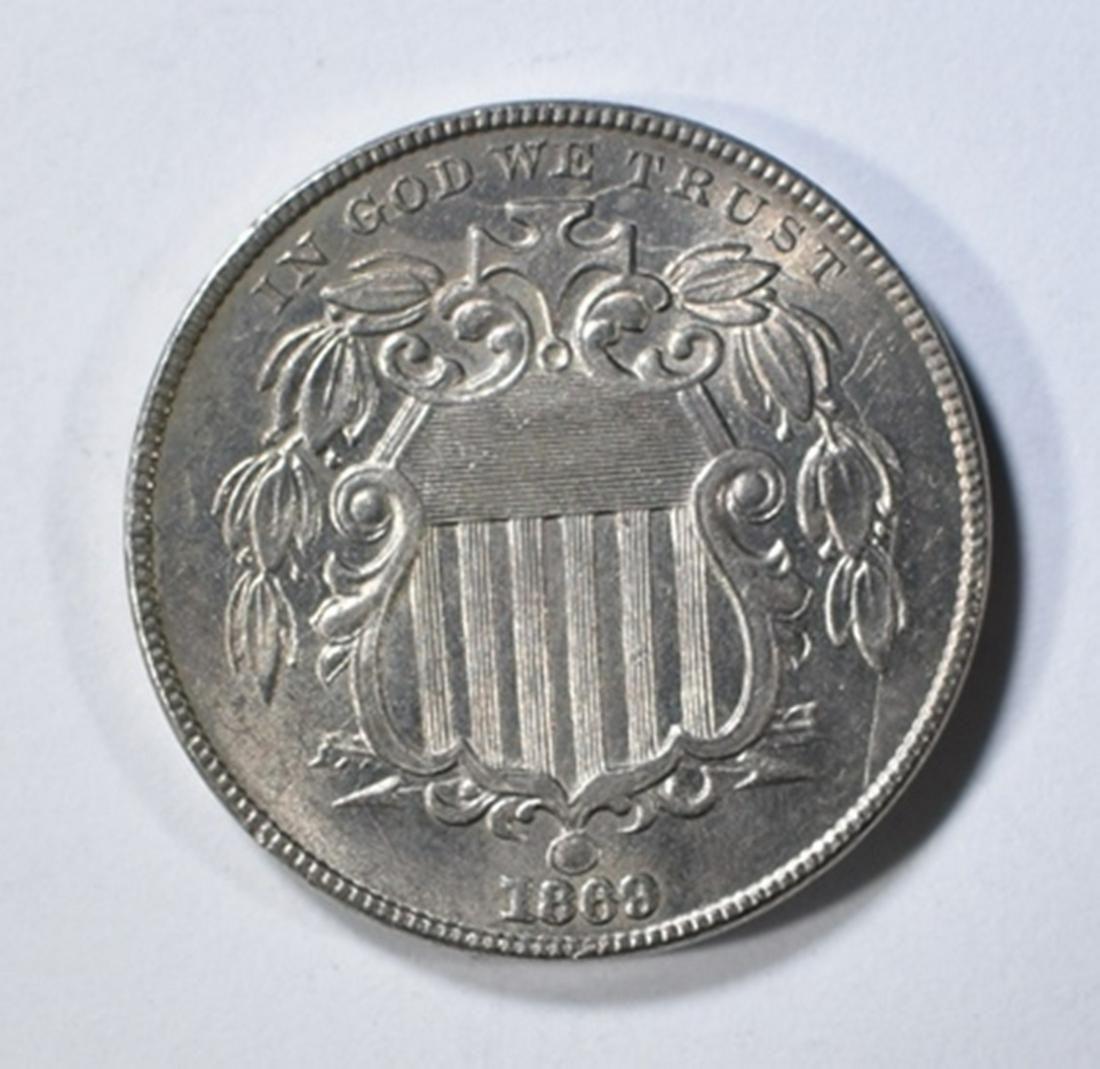 1869 SHIELD NICKEL CH/GEM BU