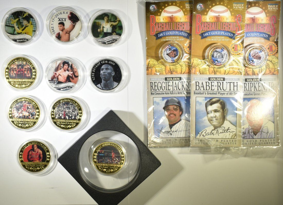 LOT OF 13 SPORTS NOVELTY COINS: