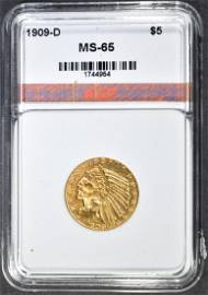 1909-D $5.00 GOLD INDIAN AGP GEM BU