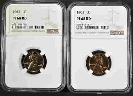 1962 & 63 LINCOLN CENTS NGC PF-68 RD