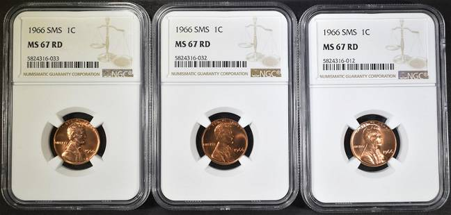 3-1966 SMS LINCOLN CENTS NGC MS-67 RD