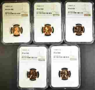 5-NGC GRADED LINCOLN CENTS