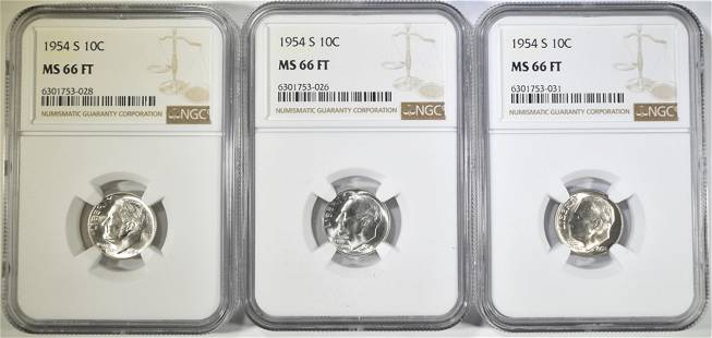 3-1954-S ROOSEVELT DIMES NGC MS-66 FT