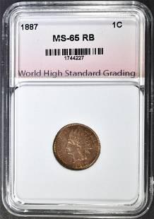 1887 INDIAN HEAD CENT WHSG GEM BU RB