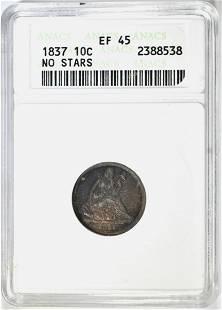 1837 NO STARS SEATED LIBERTY DIME ANACS EF-45