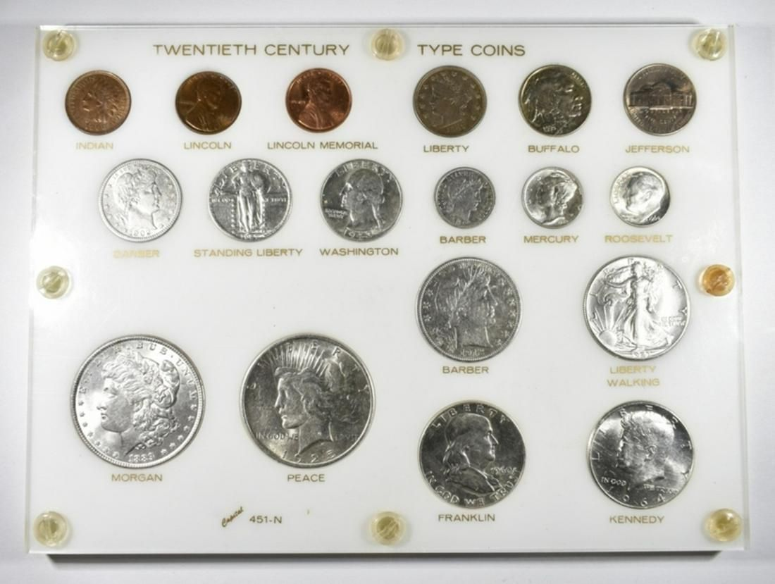 20TH CENTURY TYPE COINS IN CAPITAL PLASTIC