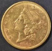 1863-S $20 GOLD LIBERTY  NICE BU