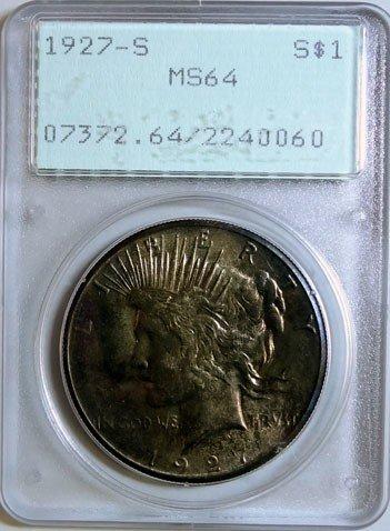 1: 1927-S Peace Dollar PCGS MS-64 Old Rattler Holder