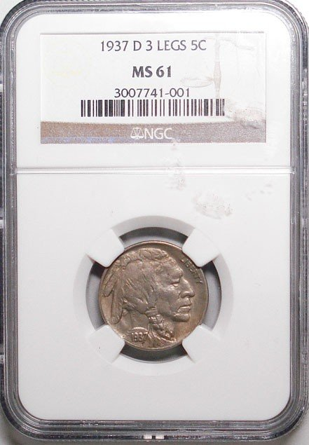 2: 1937-D 3 Leg Buffalo Nickel NGC MS-61