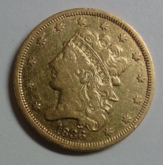 3: 1836 $5  GOLD VF/XF