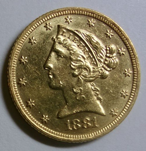 4: 1881-S $5  GOLD AU55