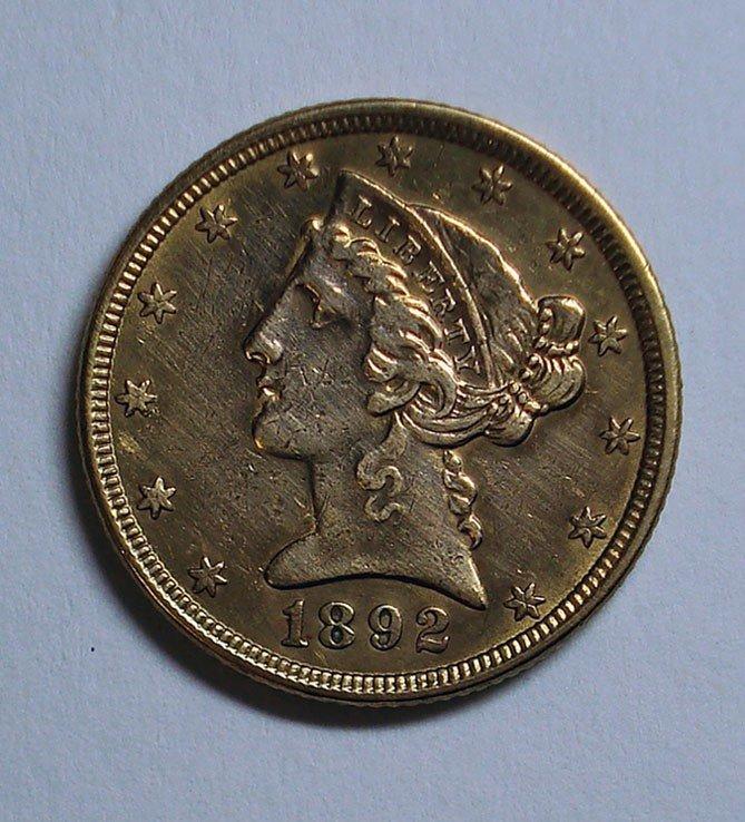 8: 1892  $5 GOLD XF45
