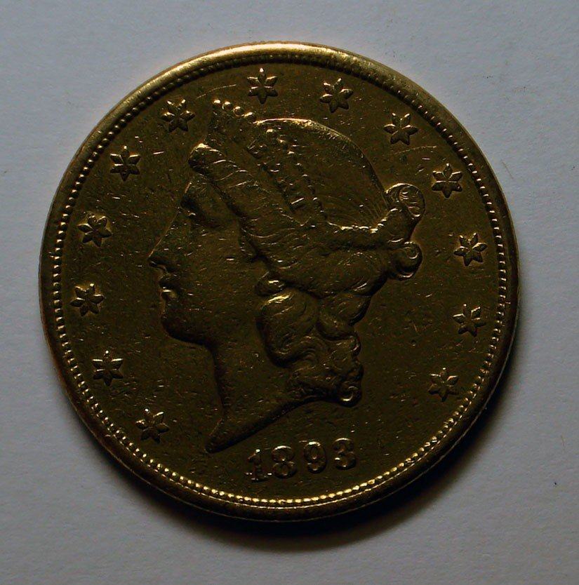 10: 1893S $20 GOLD  XF heavily cleaned