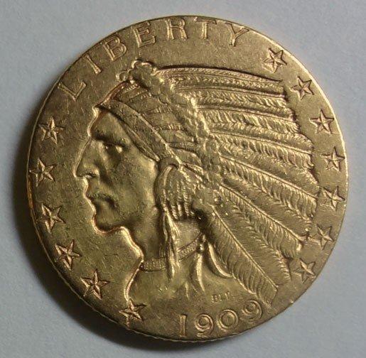 12: 1909D $5  GOLD XF