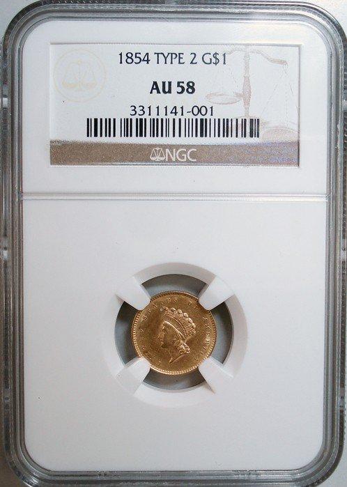 15: 1854 Type 2 Gold Dollar NGC AU-58