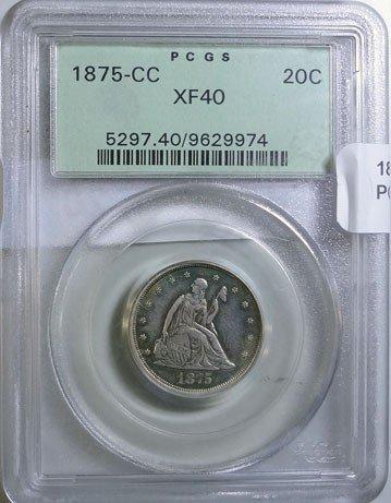 20: 1875CC twenty center  PCGS40  XF GS bid = $1000