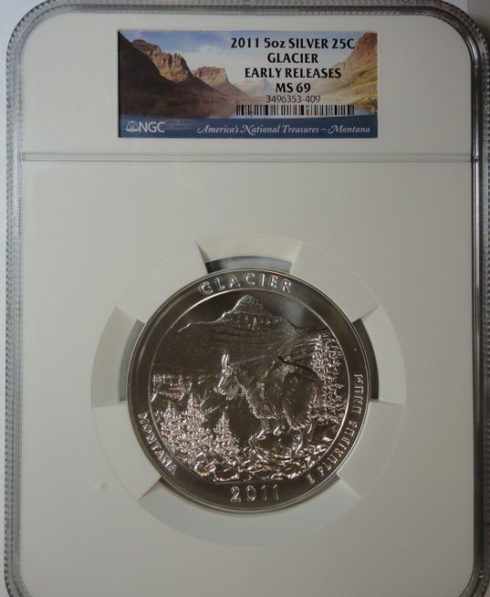 24: 2011 5 oz. silver GLACIER  NGC69 EARLY RELEASES