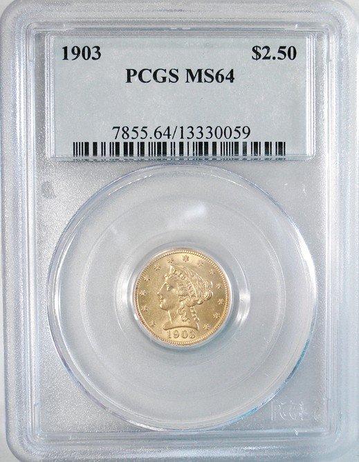 64: 1903 $2.50 Liberty Gold PCGS MS-64- Looks like a 65