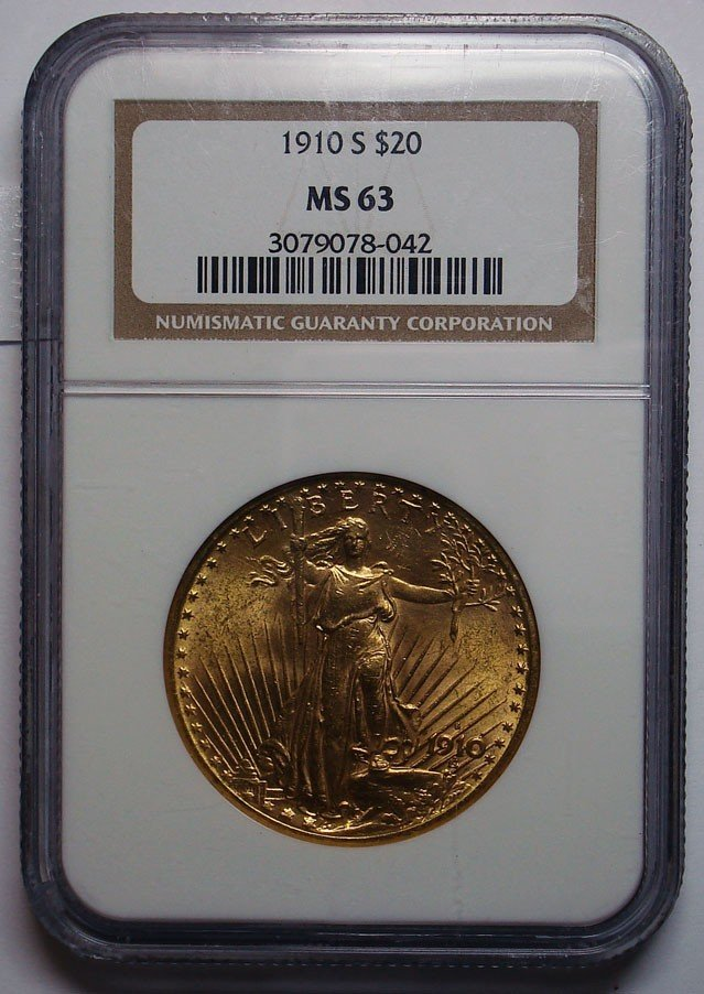 68: 1910S $20  GOLD   NGC63