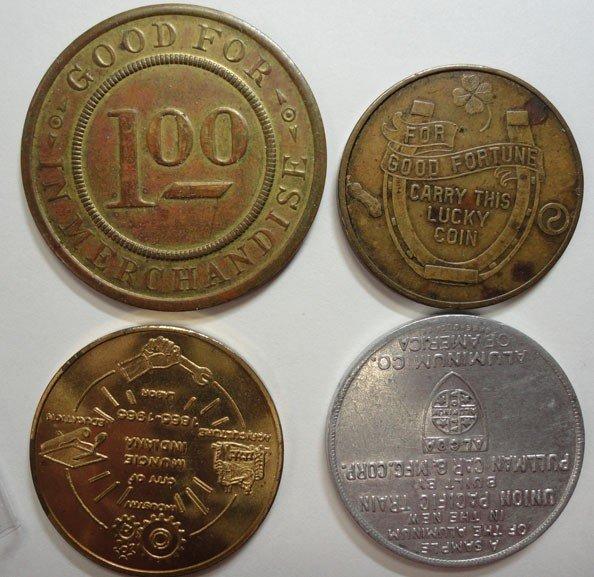 13: 4 scarce trade tokens:$1 R.L.LEASON DEPT STORE ELWO