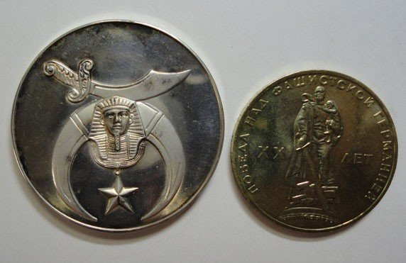 15: 2 unidentified foreign coins Mexico .900  silver wi