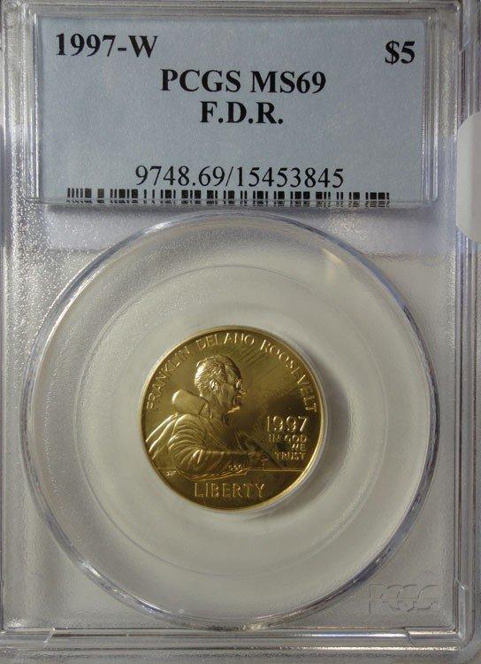 19: 1997W FDR $5 GOLD  PCGS MS69  VERY SCARCE in BU