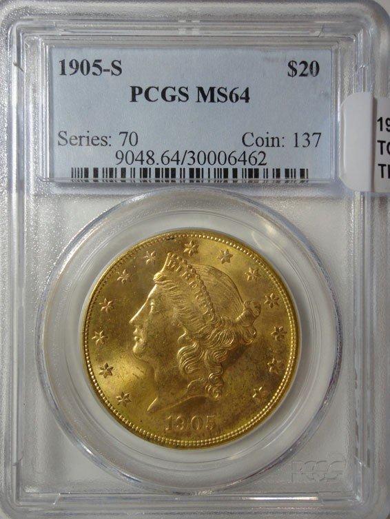22: 1905S $20 GOLD  PCGS64